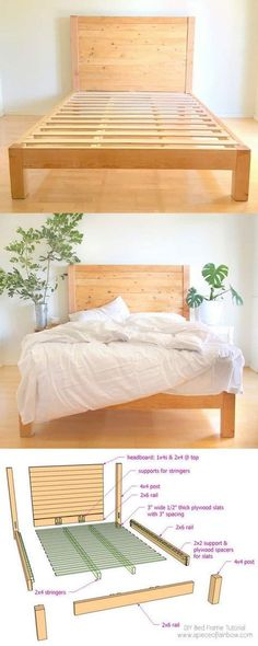 How to build a beautiful DIY bed frame & wood headboard easily. Free DIY bed plan & variations on king queen & twin size bed best natural wood finishes and lots of helpful tips! - A Piece of Rainbow How to build a beaut Diy Twin Bed Frame, King Size Bed Frame, Bed Frame And Headboard, Wood Headboard, Diy Queen Bed Frame, Diy Frame, Build Bed Frame, Diy Wood Bed Frame, Diy Bed Frame Plans