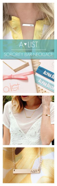 Raise the bar with these cute Sorority Bar Necklaces. Available in silver, gold & rose gold from www.alistgreek.com. Makes a great initiation, bid day or big/little gift! #sorority