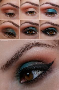Gorgeous brown-turquoise smoky eye by Claudia G.!