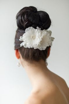Bridal Hair Accessory Floral Wedding Hair Comb by PowderBlueBijoux
