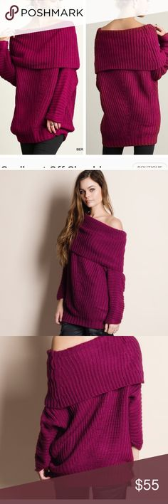 MAGENTA OFF THE SHOULDER OVERSIZED SWEATER I purchased this is both sizes, medium and large. Meant to be worn oversized. It covers all the tummy and hips. Looks great with leggings or skinny jeans! Comes in original packaging.  Specify medium or large please! Sweaters