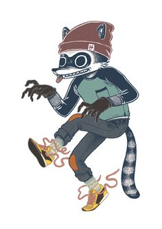 Rascals: Cat & Raccoon by Damian Dideńko, via Behance