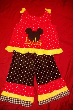 Mickey Mouse outfit  cute for a birthday by simplystitched4you, $52.00