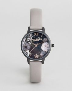 Olivia Burton OB16AD24 After Dark Floral Leather Watch In Gray