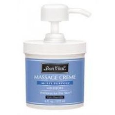 Bon Vital Multi Purpose Massage Cream Unscented 6 oz pump - Price ( MSRP: $ 14.67Your Price: $8.27Save up to 44% ). http://www.discountmedicalsupplies.com/store/massage/massage-lotions-and-massage-creams/bon1056.html