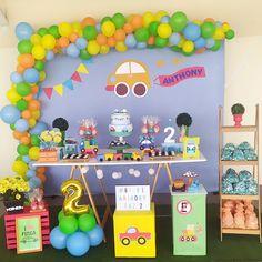 3rd Birthday Party For Boy, Cars Birthday Parties, Birthday Party Decorations, Krishna Birthday, Candy Birthday Cakes, Transportation Birthday, Toddler Boy Birthday, 2 Year Anniversary, 3 Year Olds