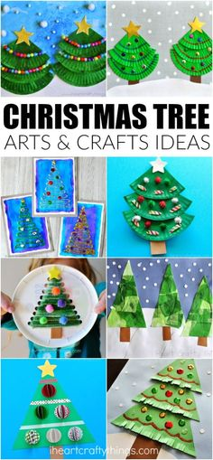 Creative Christmas Tree arts and crafts ideas for kids to make. Fun Christmas crafts, Christmas tree crafts for kids and Christmas arts and crafts ideas. by cindy Creative Christmas Trees, Christmas Arts And Crafts, Christmas Crafts For Toddlers, Preschool Christmas, Crafts For Kids To Make, Christmas Activities, Christmas Crafts For Kids, Christmas Fun, Holiday Crafts
