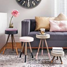 Concevoir des tables d'appoint à prix mini? Rien de plus simple!Un mélange pour béton, des goujons de bois, quelques coups depinceau et voilà des meubles tendance qui feront des envieux!
