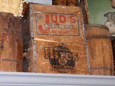 More cool old wood crates on display