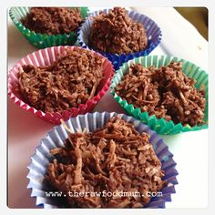 Raw chocolate crackles! Perfect for kids parties! Recipe will be in the Raw Food 4 kids book :)