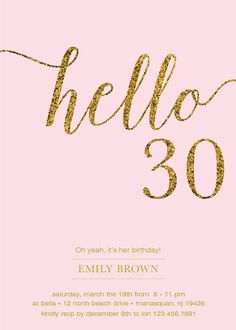 30th Birthday Invitation Modern Gold Foil Hello 30 by prettypress