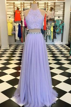 Two Pieces A-line Scoop Prom Dress Floor Length Lilac Prom Dresses Evening Dress Evening Dresses A-Line, Evening Dresses Two Piece, Prom Dress Prom Dresses 2019 Violet Prom Dresses, Lavender Prom Dresses, A Line Prom Dresses, Tulle Prom Dress, Pretty Dresses, Homecoming Dresses, Quinceanera Dresses, Lilac Dress Long, Dress Lace