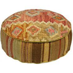 Southwestern Style Round Pouf Ottoman