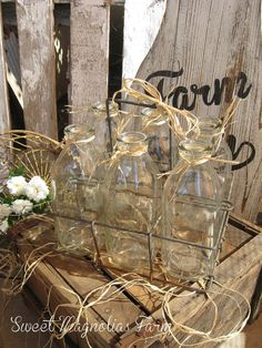 Vintage Wire Milk Bottle Carrier and 6 Quart Milk Bottles by SweetMagnoliasFarm, Sold to a Good Home !
