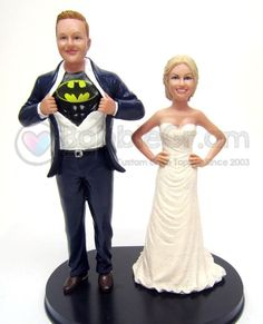 Tall Superhero Groom with short bride style shows your height difference - perfect for tall grooms and short brides. Have your custom wedding cake topper made by Bobblegr. Military Wedding Cakes, Hockey Wedding, Military Cake, Custom Wedding Cake Toppers, Wedding Topper, Short Bride, Whimsical Wedding, Best Wedding Dresses, Big & Tall