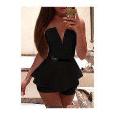 Deep V Neck Sleeveless Black Peplum Romper (£12) ❤ liked on Polyvore featuring jumpsuits, rompers, black, patterned romper, long-sleeve romper, v neck romper, playsuit romper and sleeveless romper