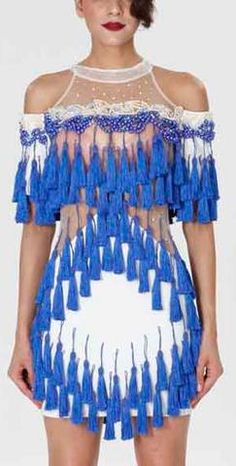 'Abigail' Fringe & Bead Embellished Dress-Blue &White