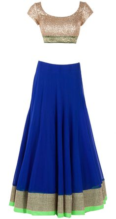 Royal blue flared lehenga set available only at Pernia's Pop-Up Shop. Had a pretty pink dupatta which didnt pin India Fashion, Ethnic Fashion, Asian Fashion, Women's Fashion, Indian Bridal Wear, Indian Wear, Indian Dresses, Indian Outfits, Indian Clothes