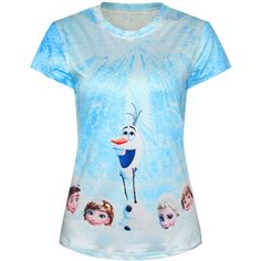 Blue Ladies Crew Neck Frozen Elsa Olaf Printed T-shirt ($18) ❤ liked on Polyvore featuring tops, t-shirts, blue, crew neck tops, crewneck tee, crewneck t-shirt, crew neck t shirt and blue tee