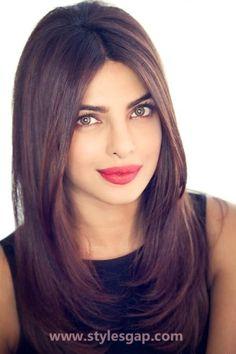 Indian celebrities hairstyles- pariyanka chopra- straight hairs