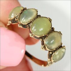 Antique Victorian Chrysoberyl Ring 5 Stone in by VictoriaSterling