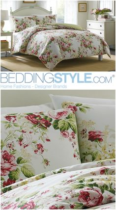 Laura Ashley Joyce Pink Floral Bedding. #BeddingStyle #floralprint #bedroom  #LauraAshley