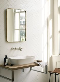 Osaka basin, Novak mirror, Empire taps, Reclaimed Teak washbench and Architecture White Matt tiles http://www.firedearth.com/osaka-basin