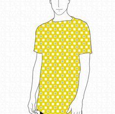 Yellow Printed T by VanBor.nl