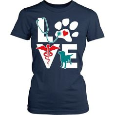 Being in veterinary medicine is more than a job is Love. Perfect for work other colors and styles available too! More cool t-shirts here: http://teelime.com/collections/professions/veterinarians