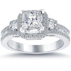 princess 3 stone halo ring   ... SI1 Certified Princess Cut Diamond Engagement Ring 18k Pave Halo