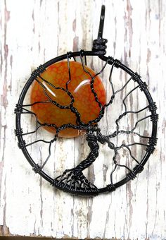 Halloween Full Moon Tree of Life Pendant by PhoenixFireDesigns, $60.00