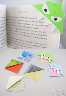 Make your own bookmark corner characters- even big kids love these!
