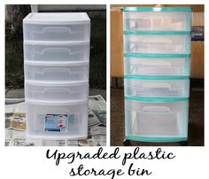 Jen uses a toy storage system with slide-out plastic bins to store plastic pieces by color.
