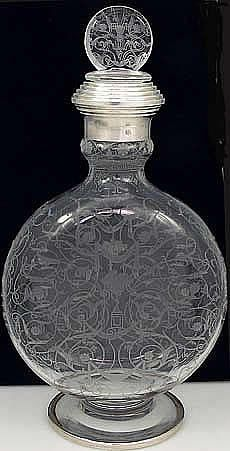 French etched decanter with silver bands...