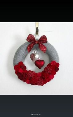 Hearts Wreath, Red and Gray Valentine Wreath, Love Wreath, Small 10 inch size, Red and Gray Wreath - Ready to Ship Valentine Day Wreaths, Valentine Day Crafts, Valentine Decorations, Holiday Wreaths, Holiday Crafts, Christmas Crafts, Christmas Decorations, Christmas Ornaments, Printable Valentine