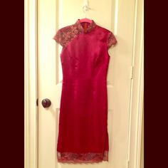 HP Asian inspired vintage dress Downtown Chic HP 12/2/15! This thrift store find is too small for me but I knew there would be another posher who would fall equally in love and fit it just right! A stunning deep burgundy bodice accented by a light lilac lace collar, sleeves, and hem makes this dress perfect for the holidays, Valentine's, or really, what event wouldn't be a worthy excuse to steal the show in this unforgettable vintage number? Almost new condition, just a couple tiny snags…