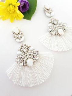 Prom Earrings, White Earrings, Bridesmaid Earrings, Rhinestone Earrings, Wedding Earrings, Tassel Earrings, Chandelier Earrings, Statement Earrings, Handmade Jewellery