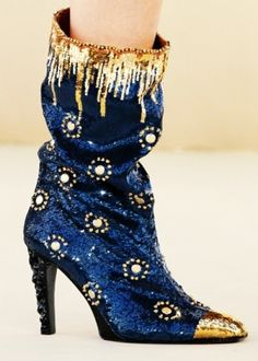 Chanel ~ Navy+Gold Embellsihed Boots by Janny Dangerous