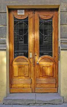 Double wooden doors. Poland