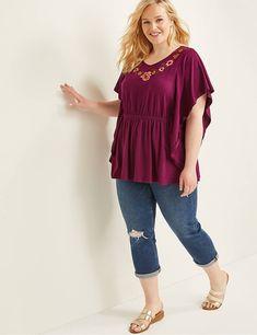 Embroidered V-Neck Top New Wardrobe, Wardrobe Ideas, Kelly S, Short Kimono, Kimono Fashion, V Neck Tops, Lane Bryant, Skinny Jeans, Plus Size