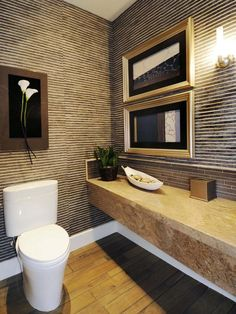 kind of a mish mash:  bamboo walls (rough seam), tile back splash formica counter Powder Room Designs : Home Improvement : DIY Network