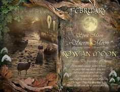 """Book of Shadows Moon: """"February: Rowan Moon,"""" by Angie Latham. It makes a lovely Moon page for a Book of Shadows. - Pinned by The Mystic's Emporium on Etsy Tarot, Moon Magic, Sabbats, Book Of Shadows, Months In A Year, Witchcraft, Wiccan Spells, Magic Spells, Easy Spells"""
