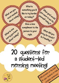 FREE! 20 Questions and prompts for a student-led morning classroom meeting!