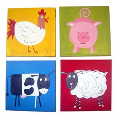 4 Farm Animal Canvases / Children's Art / Painting / Nursery Decor - Pig, Sheep, Cow and Hen Cow Paintings On Canvas, Sheep Paintings, Animal Paintings, Art Paintings, Painting Art, Baby Painting, Canvas Prints, Nursery Canvas Art, Nursery Paintings