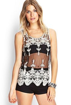 Embroidered Mesh Tank | FOREVER 21 - 2000067466