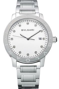 Replica Bvlgari Solotempo Date Watch with White Round Dial with Diamonds, Polished Stainless Steel Case and Bracelet - $245.00