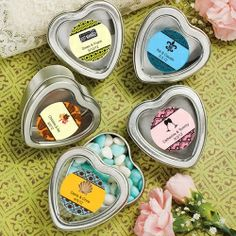 """Personalized Expressions Collection"" Silver Heart Shaped Mint Tins"