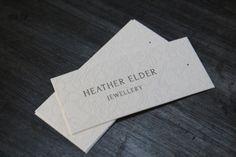 Jewellery Tags for Heather Elder Jewellery.  Letterpress printed on 100% Cotton Saunders Waterford Stock.  #letterpress #jewellery #branding