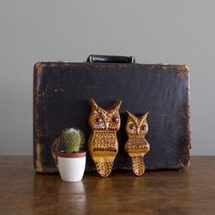 Wood Carved Owl Pair, $42, now featured on Fab.