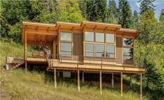 This 550 sq. timber framed cabin called the TimberCab 550 by FabCab is in Lake Pend Oreille, Idaho assembled by Selle Valley Construction. It's built using SIP (structurally insulated pan… Small Rustic House, Rustic House Plans, Tiny House Cabin, Small House Plans, Cabin Homes, Tiny Houses, Tiny Cabin Plans, Small Modern Cabin, Shed Cabin